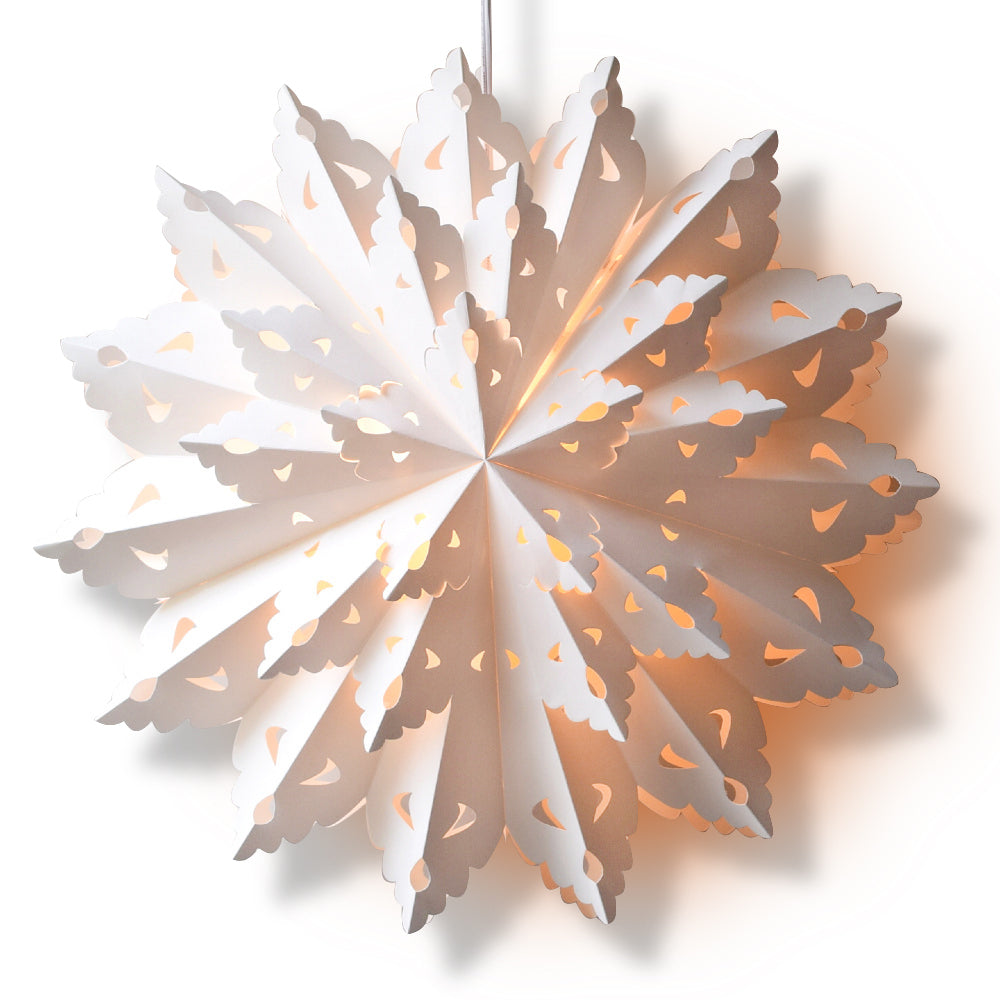 Quasimoon Pizzelle Paper Star Lantern (22-Inch, White, Blizzard Wreath Snowflake Design) - Great With or Without Lights - Holiday Snowflake Decoration