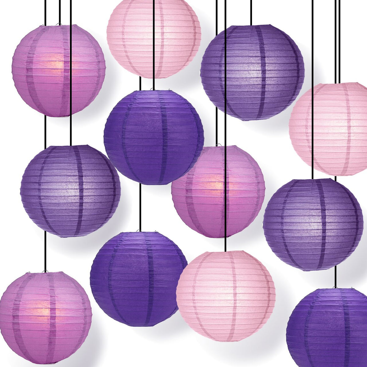CLOSEOUT 12-Pack of 8 Inch Multicolor Purple No Frills Paper Lanterns - Luna Bazaar | Boho & Vintage Style Decor