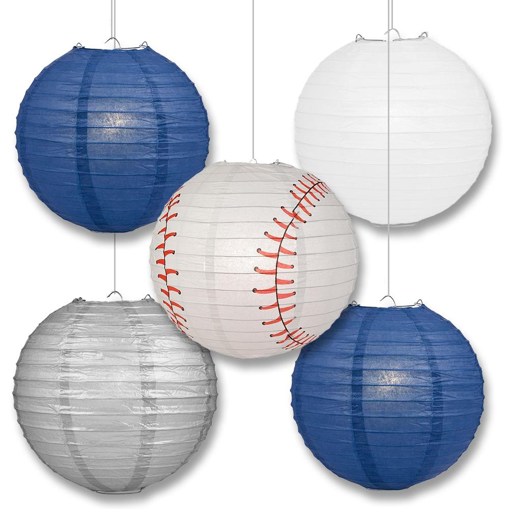 San Diego Pro Baseball Navy Blue, White & Silver 14-inch Paper Lanterns 5pc Combo Party Pack - Luna Bazaar | Boho & Vintage Style Decor