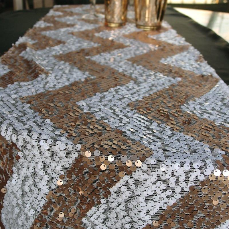 CLOSEOUT Chevron Sequin Table Runner - Champagne & White (12 x 108) - Luna Bazaar | Boho & Vintage Style Decor