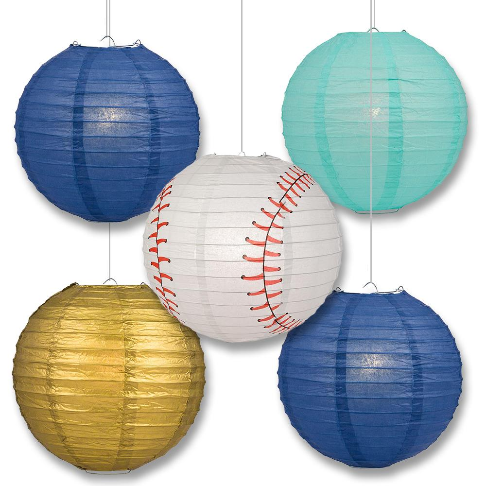 Tampa Bay Pro Baseball Dark Blue, Light Blue & Gold 14-inch Paper Lanterns 5pc Combo Party Pack - Luna Bazaar | Boho & Vintage Style Decor