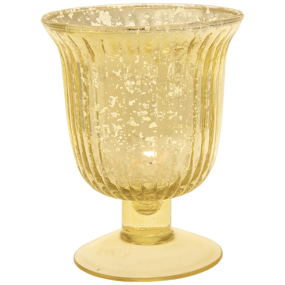 Art Deco Gold Mercury Glass Tea Light Votive Candle Holders (Set of 5, Assorted Designs and Sizes) - Luna Bazaar | Boho & Vintage Style Decor