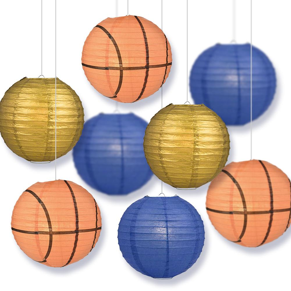 West Virginia College Basketball Gold, Dark Blue 14-inch Paper Lanterns 8pc Combo Party Pack - Luna Bazaar | Boho & Vintage Style Decor