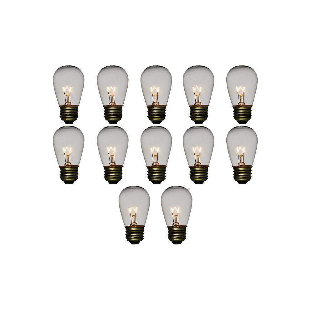 Clear 11-Watt Incandescent S14 Sign Replacement Light Bulbs, E26 Medium Base (12 PACK) - Luna Bazaar | Boho & Vintage Style Decor