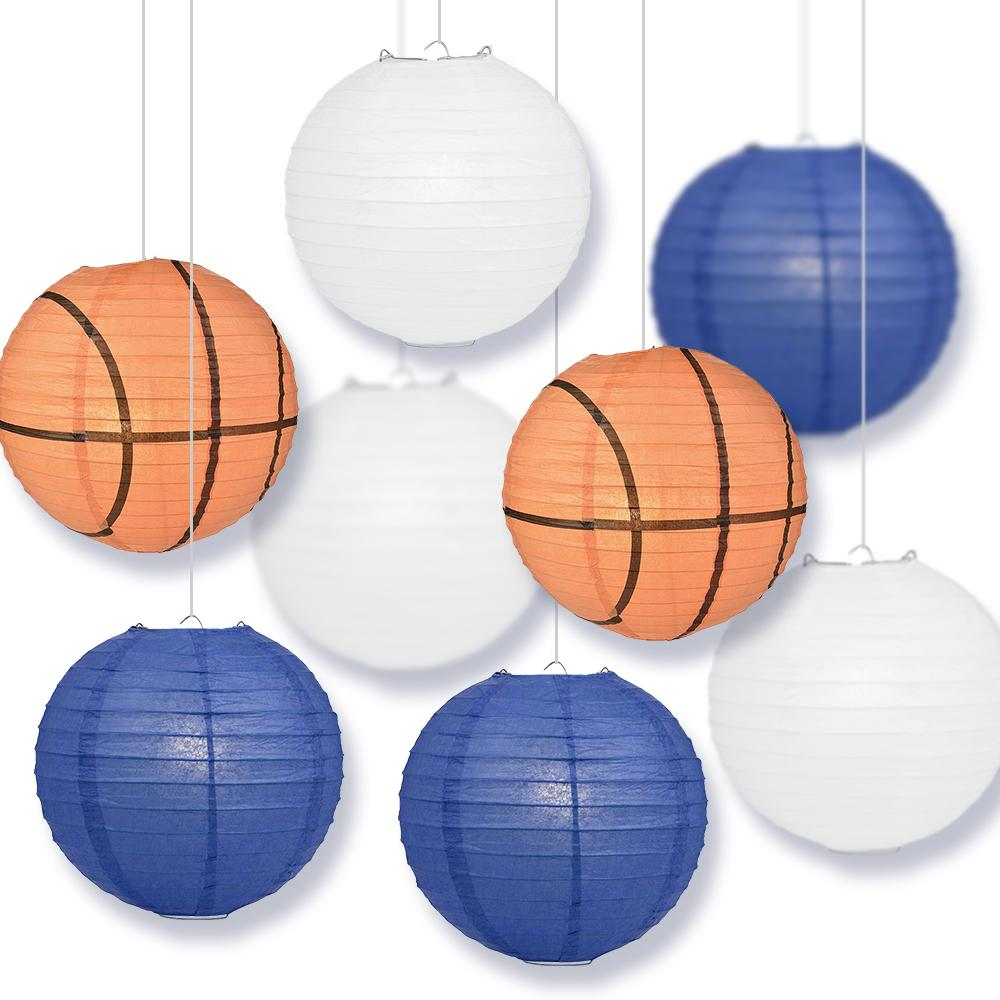 Connecticut College Basketball Dark Blue, White 14-inch Paper Lanterns 8pc Combo Party Pack - Luna Bazaar | Boho & Vintage Style Decor