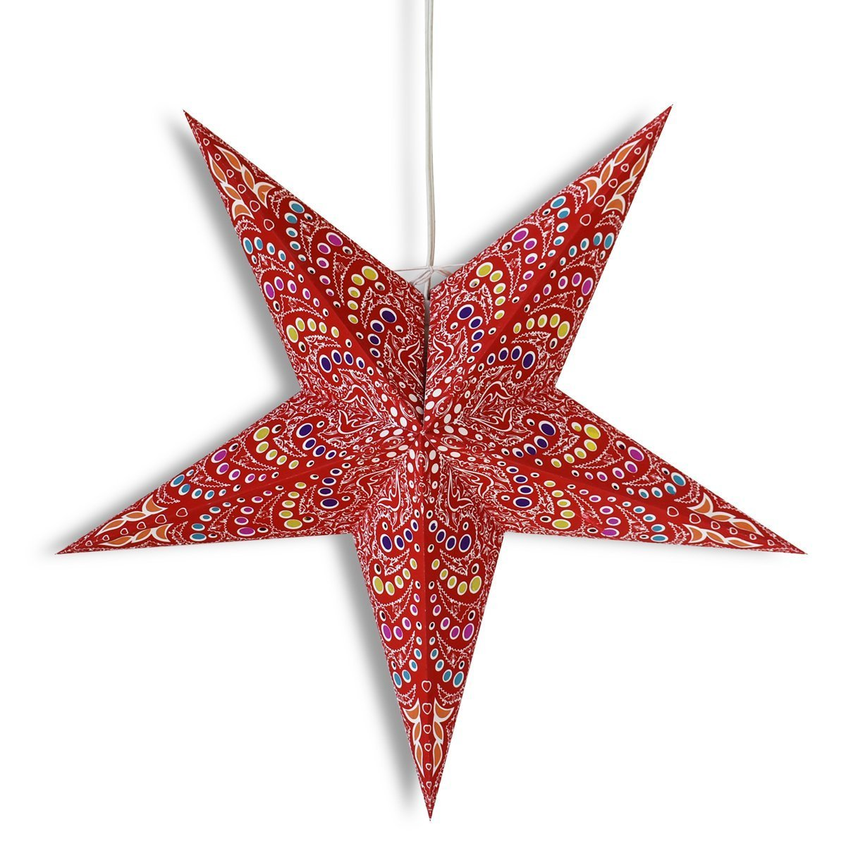 "3-PACK + Cord  24"" Red Aloha Paper Star Lantern and Lamp Cord Hanging Decoration - Luna Bazaar 