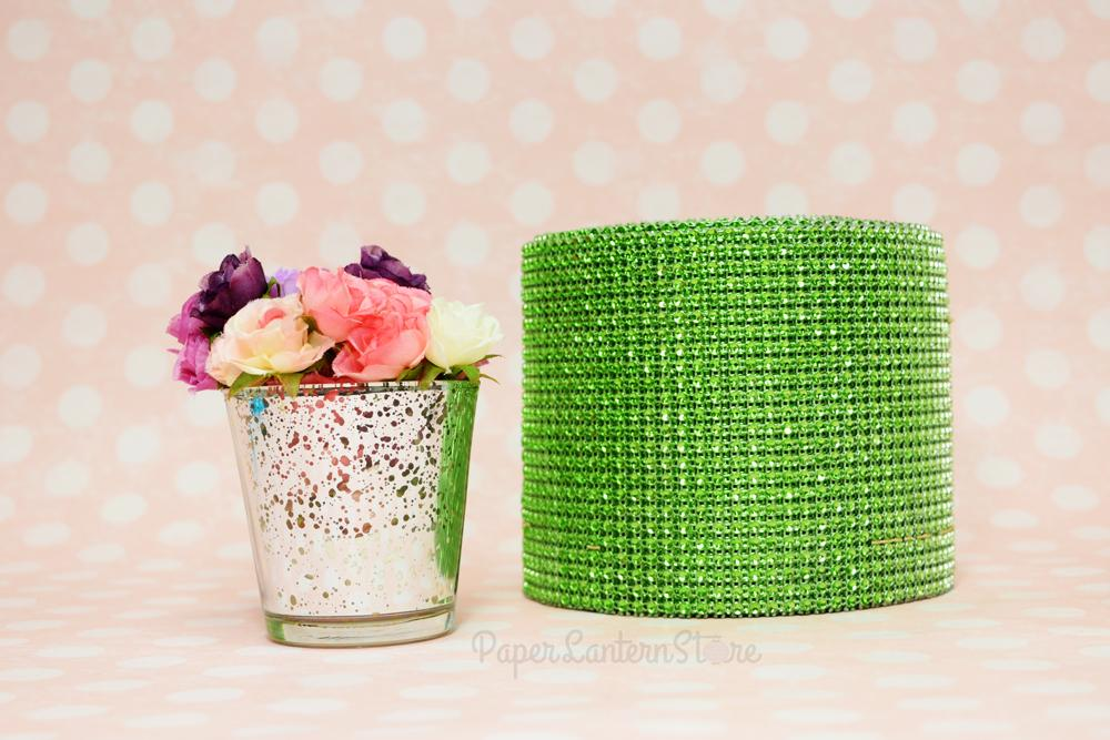 CLOSEOUT Apple Green Diamond Bling Wrap Roll - 30 FT - Luna Bazaar | Boho & Vintage Style Decor