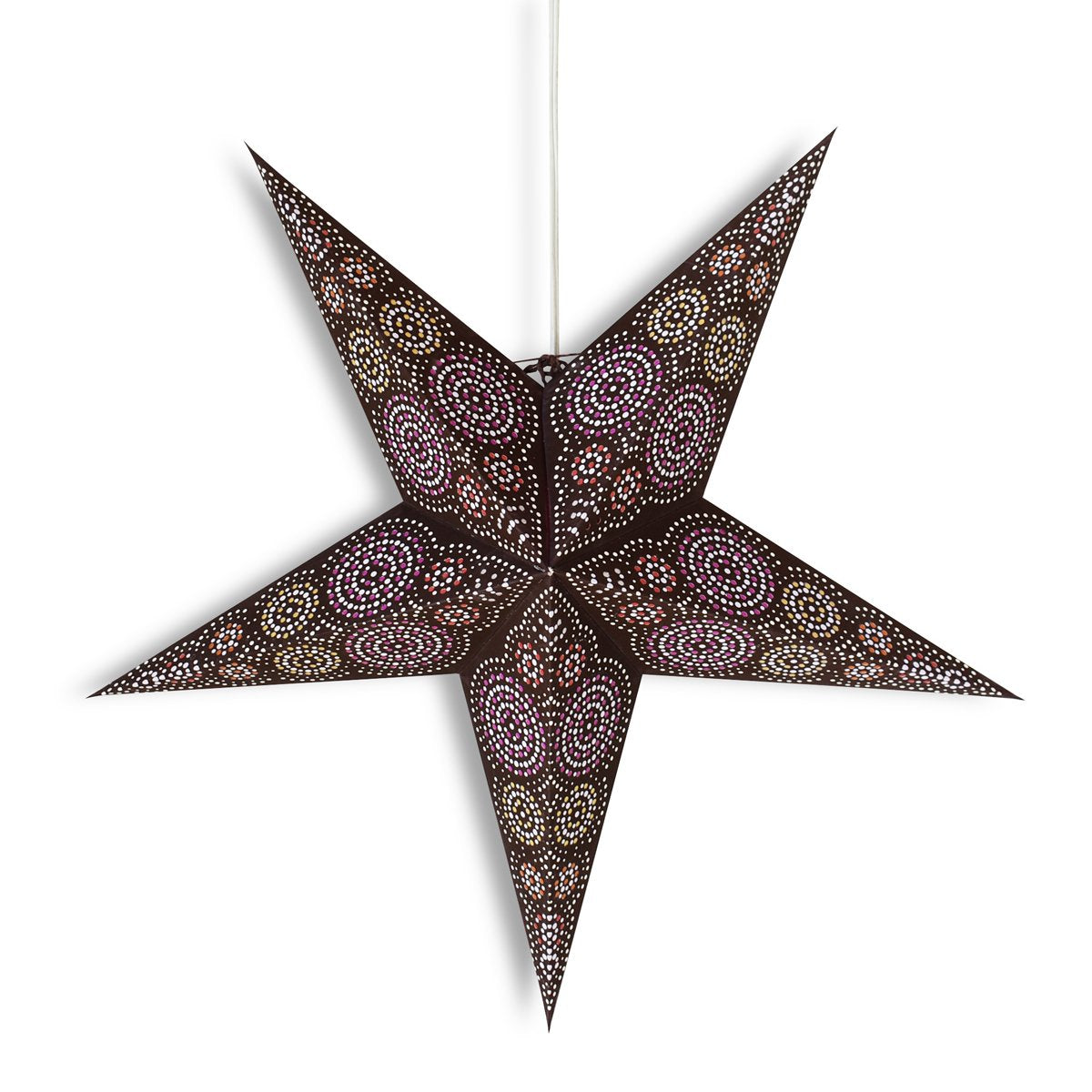 "24"" Brown / Purple Aussie Paper Star Lantern, Hanging Wedding & Party Decoration - Luna Bazaar 