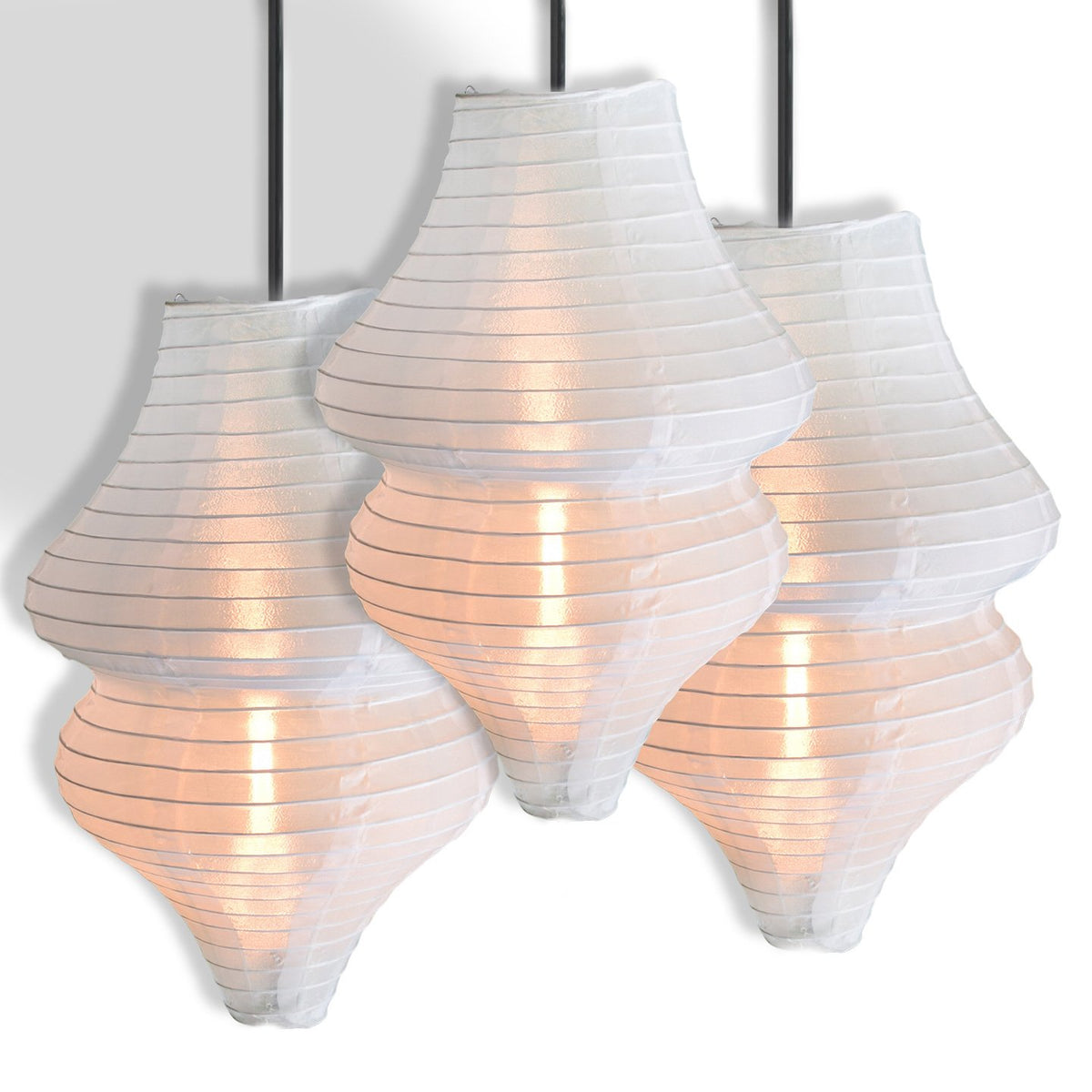 3-Pack White Beehive Unique Shaped Nylon Lantern, 10-inch x 18-inch - Luna Bazaar - Discover. Decorate. Celebrate