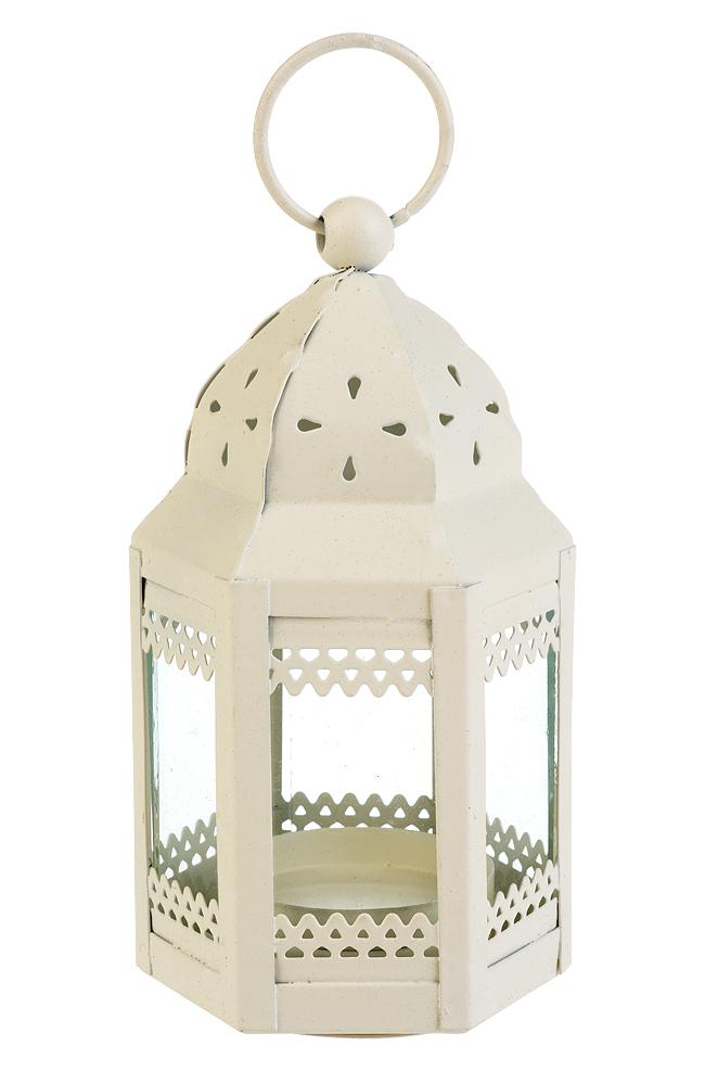 "4.75"" Beige Decorative Taj Hurricane Candle Lantern - Luna Bazaar - Discover. Decorate. Celebrate"