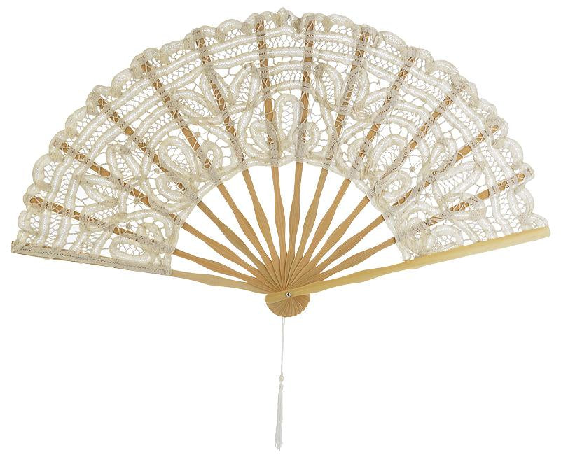 "11"" Beige / Ivory Lace Hand Fan for Weddings - Luna Bazaar - Discover. Decorate. Celebrate"