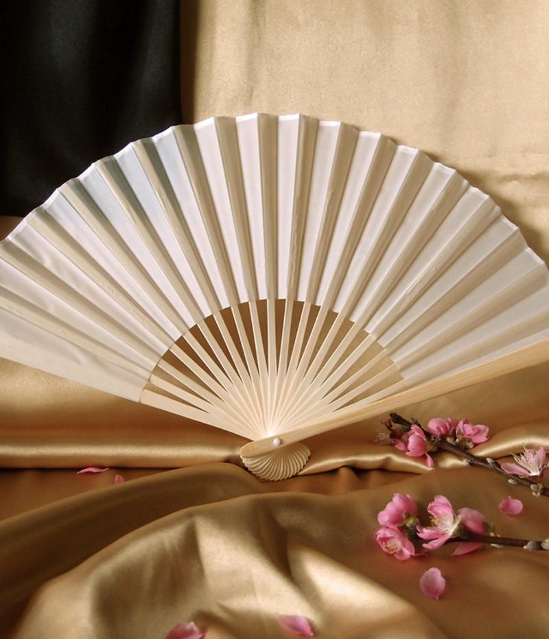 "9"" Beige / Ivory Silk Hand Fans for Weddings (10 Pack) - Luna Bazaar 