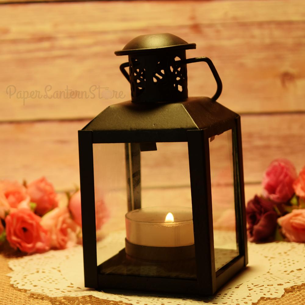 "4.75"" Black Decorative Clear Pane Hurricane Candle Lantern - Luna Bazaar 