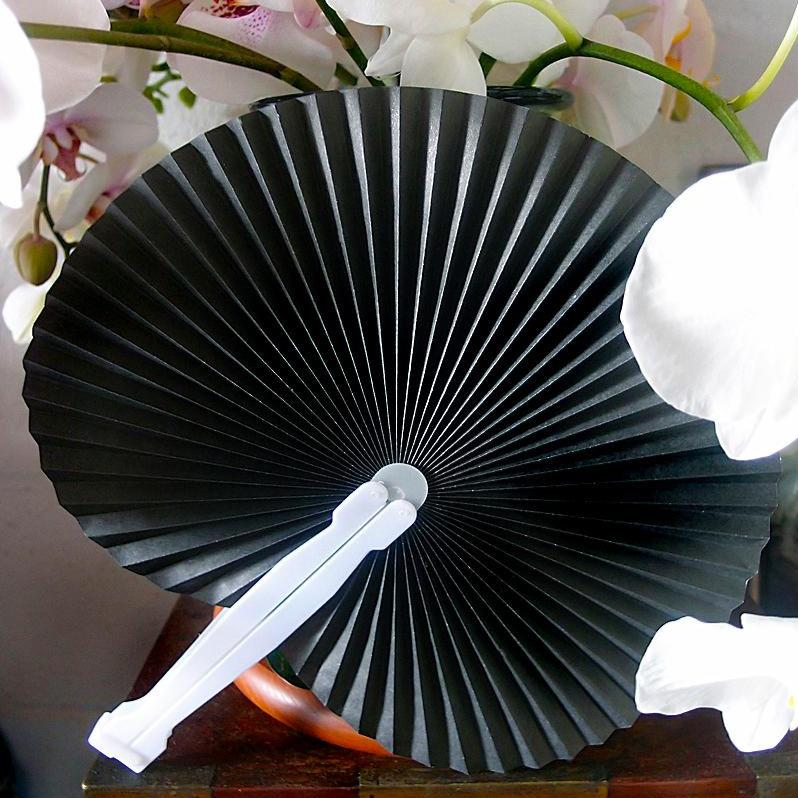 "9"" Black Accordion Paper Hand Fan for Weddings (10 Pack) - Luna Bazaar - Discover. Decorate. Celebrate"