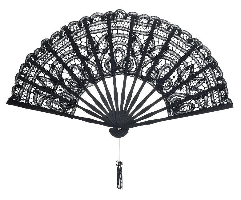 "11"" Black Lace Hand Fan for Weddings - Luna Bazaar 