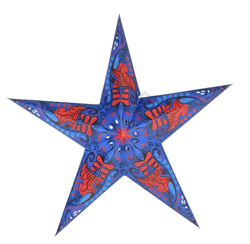 "24"" Blue and Red Swan Paper Star Lantern, Chinese Hanging Wedding & Party Decoration - Luna Bazaar 
