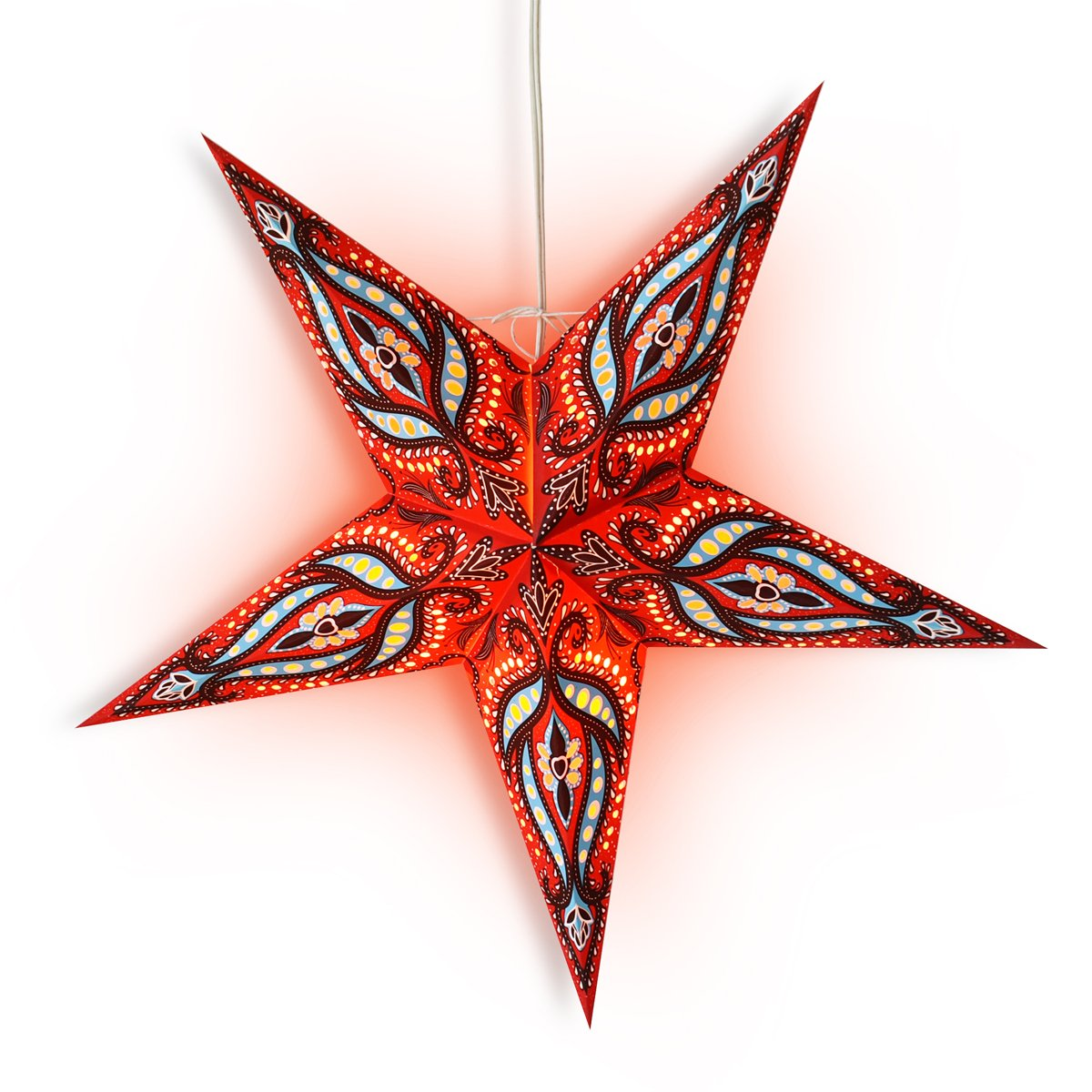 "24"" Red / Black Bloom Paper Star Lantern, Hanging Wedding & Party Decoration - Luna Bazaar 