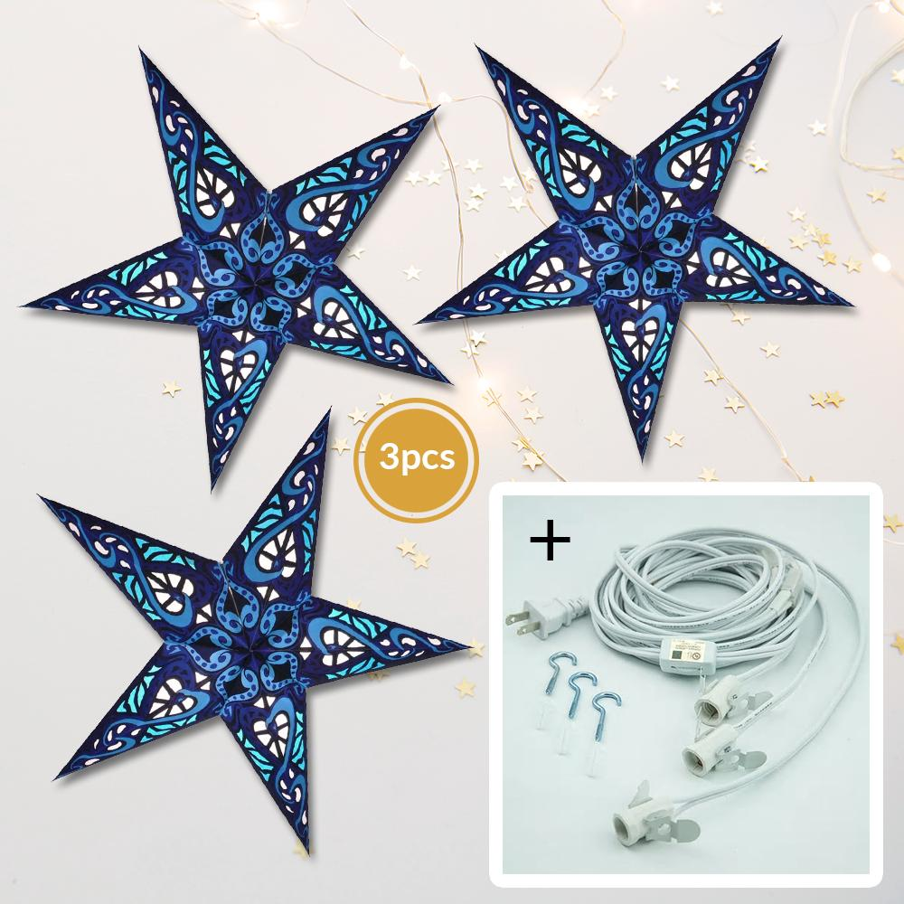 "3-Pack + Cord Blue Trance 24"" Illuminated Paper Star Lanterns and Lamp Cord Hanging Decorations - Luna Bazaar 