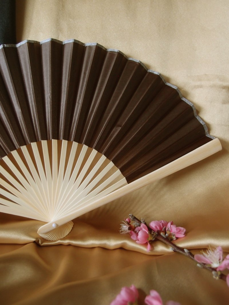 "CLOSEOUT 9"" Brown Silk Hand Fans for Weddings (10 PACK) - Luna Bazaar 