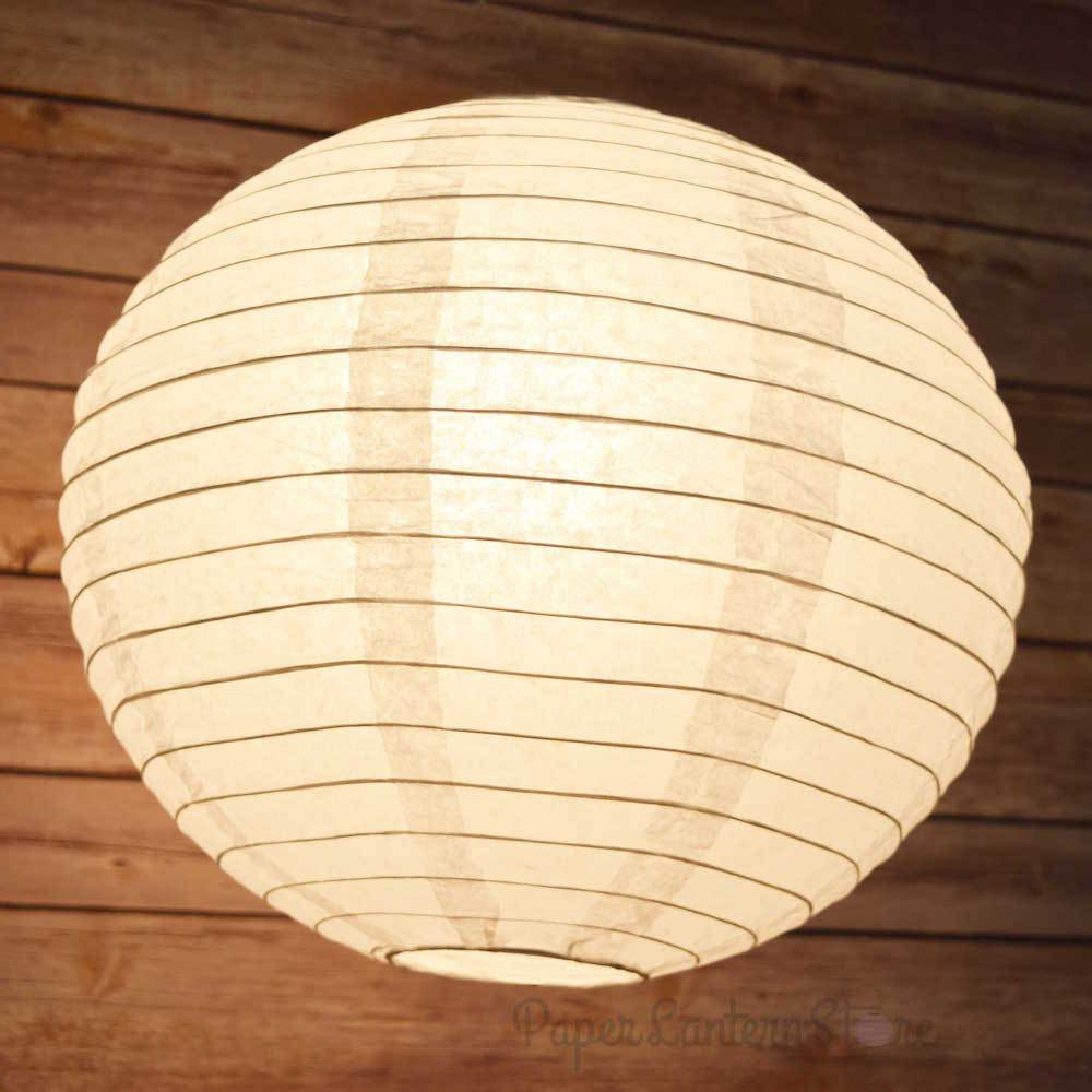 "100-Pack 18"" White Parallel Ribbing Round Paper Lanterns - Luna Bazaar 