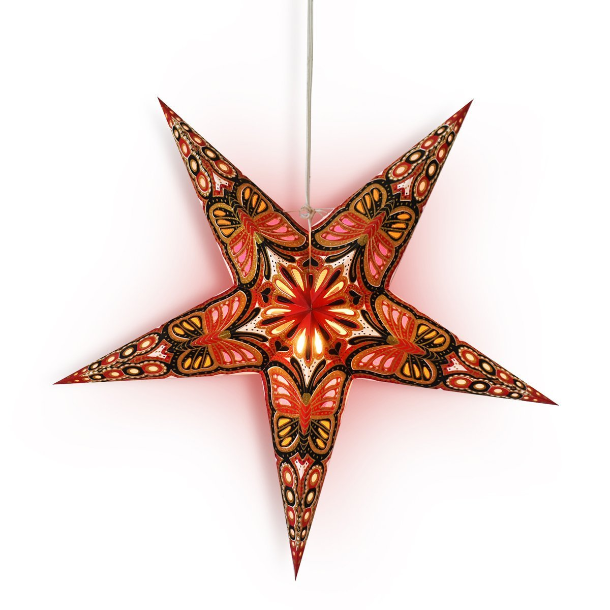 "3-PACK + Cord  24"" Red / Black Butterfly Glitter Paper Star Lantern and Lamp Cord Hanging Decoration - Luna Bazaar 