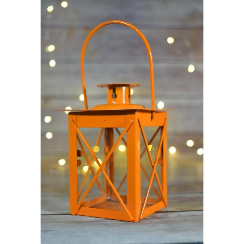 "CLOSEOUT 4.5"" Orange Square Hurricane Candle Lantern Tea Light Holder - Luna Bazaar - Discover. Decorate. Celebrate"