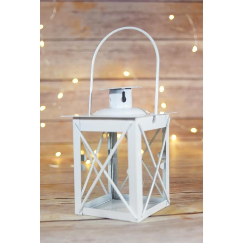 "4.5"" White Decorative Square Hurricane Candle Lantern Tea Light Holder - Luna Bazaar - Discover. Decorate. Celebrate"