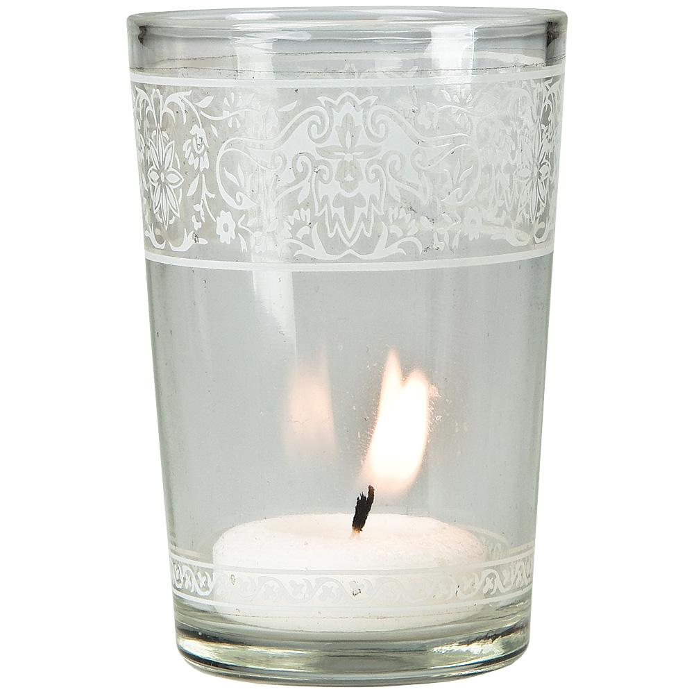 "3.25"" Clear Aliz Painted Glass Candle Holder - Luna Bazaar 