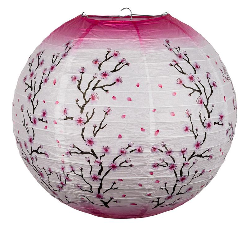 "14"" Pink Cherry Blossom Tree Japanese Paper Lantern - Luna Bazaar - Discover. Decorate. Celebrate"