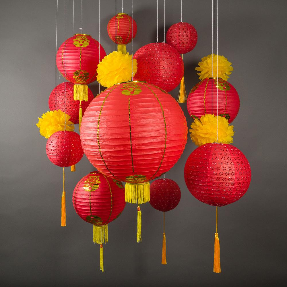 CLOSEOUT 13-pc Red Chinese New Year Celebration Party Pack Paper Lantern Combo Set - Luna Bazaar | Boho & Vintage Style Decor