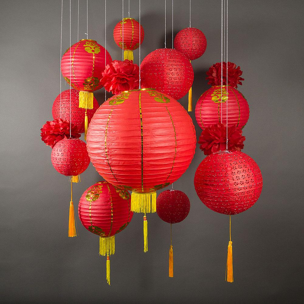 CLOSEOUT 13-pc Chinese New Year Hanging Decoration Paper Lantern Combo Set - Luna Bazaar | Boho & Vintage Style Decor