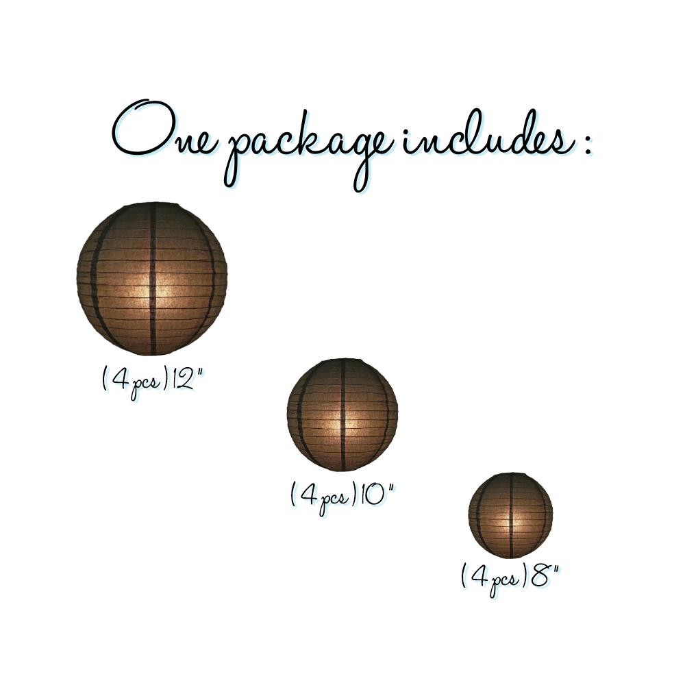12-PC Black Paper Lantern Decoration Set, 12/10/8-Inch - Luna Bazaar | Boho & Vintage Style Decor