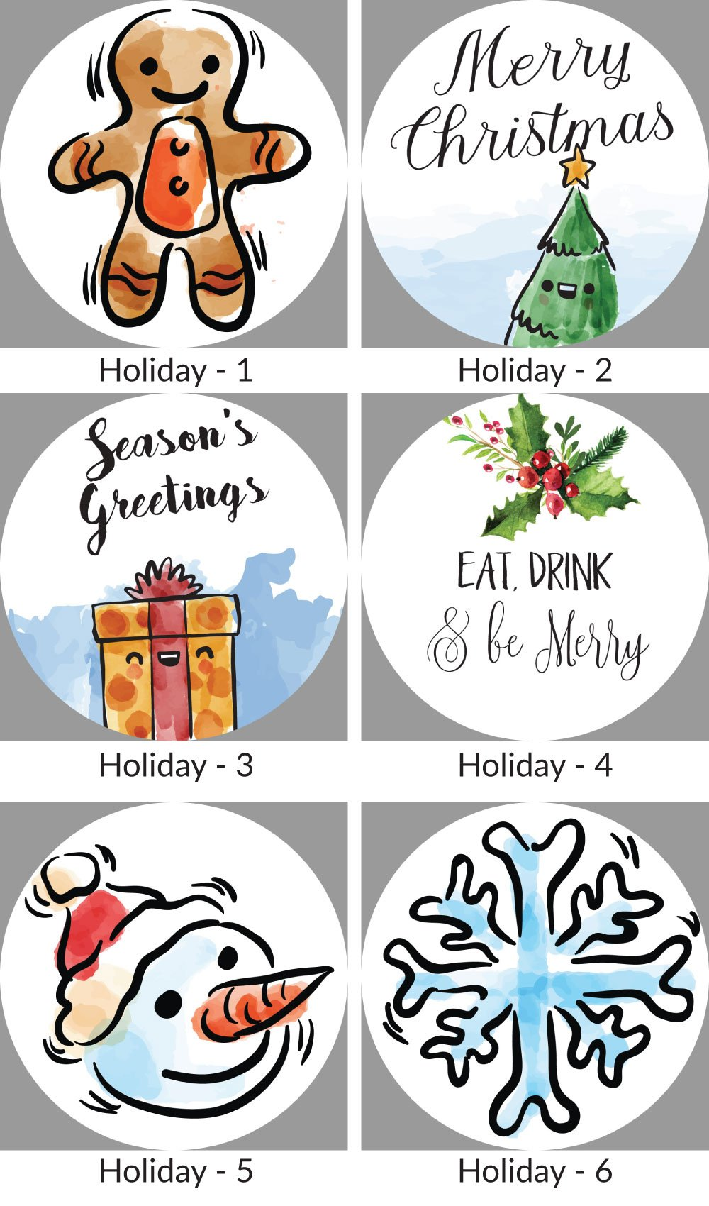 2.5 Inch Circle Personalized Holiday and Christmas Present Stickers Tags and Envelope Seals (Pre-Set Designed, 24 Labels) - Luna Bazaar | Boho & Vintage Style Decor