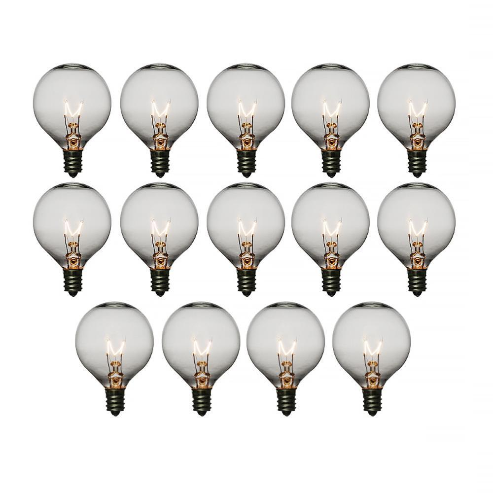 SINGLE Clear 7-Watt Incandescent G50 Globe Light Bulb, E12 Candelabra Base - Luna Bazaar | Boho & Vintage Style Decor