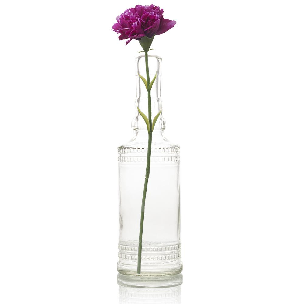 "8.86"" Camila Clear Vintage Glass Bottle with Wedding Flower Bud Vase with Cork - Luna Bazaar 