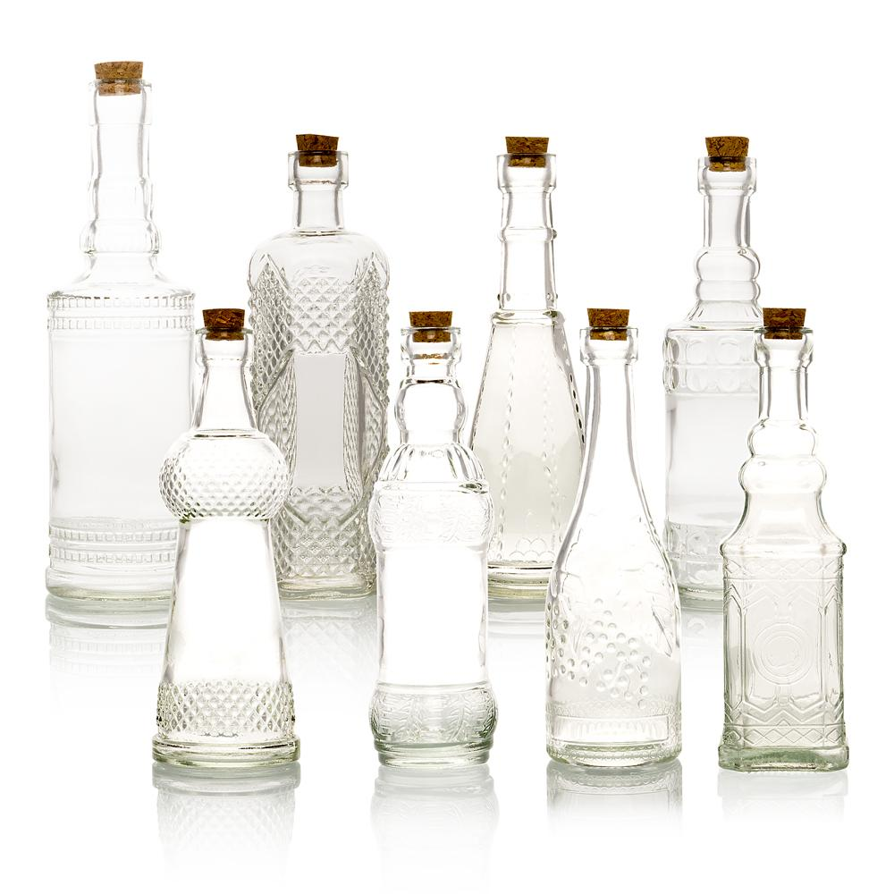 8pc Clear Vintage Glass Wedding Bottle Set, Assorted Wedding Table and Centerpiece Display - Luna Bazaar | Boho & Vintage Style Decor