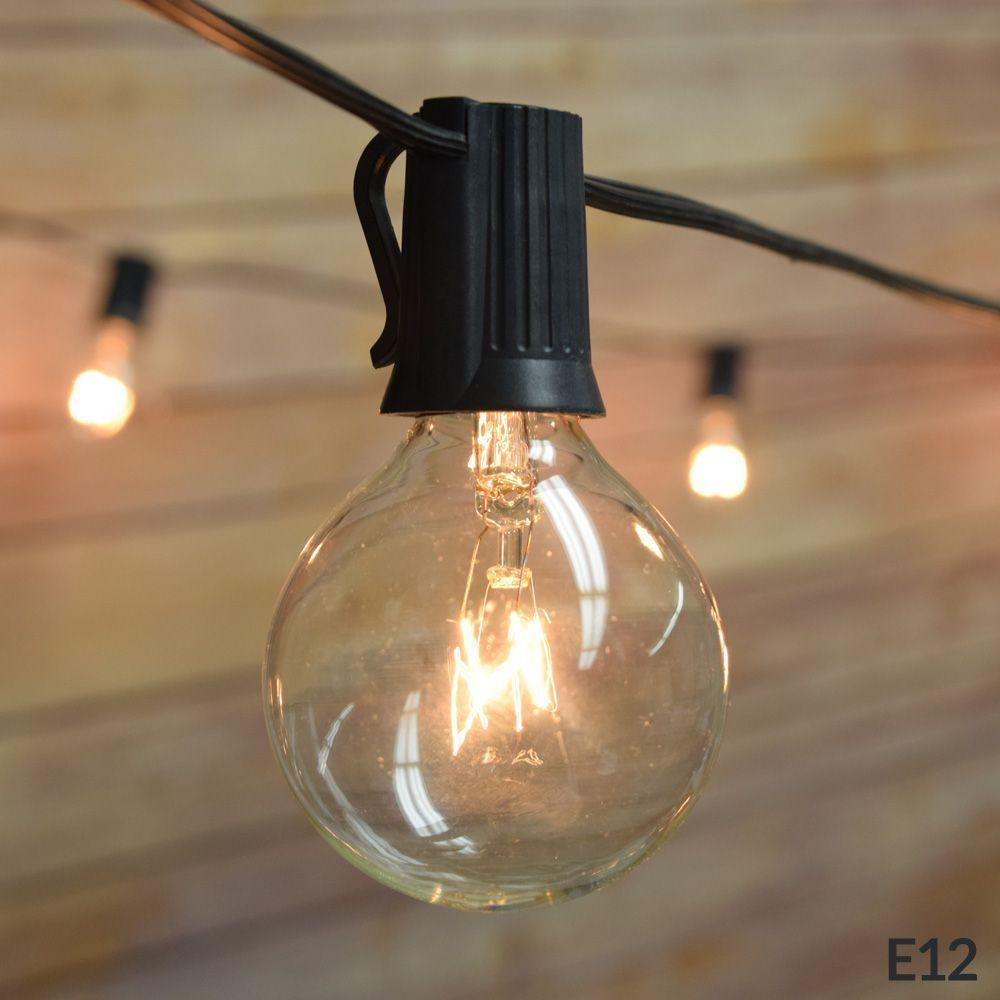 (Cord Only) 50 Socket Outdoor Patio DIY String Light, 51 FT Black w/ E12 Base, Expandable End-to-End for LED Bulbs - Luna Bazaar - Discover. Decorate. Celebrate