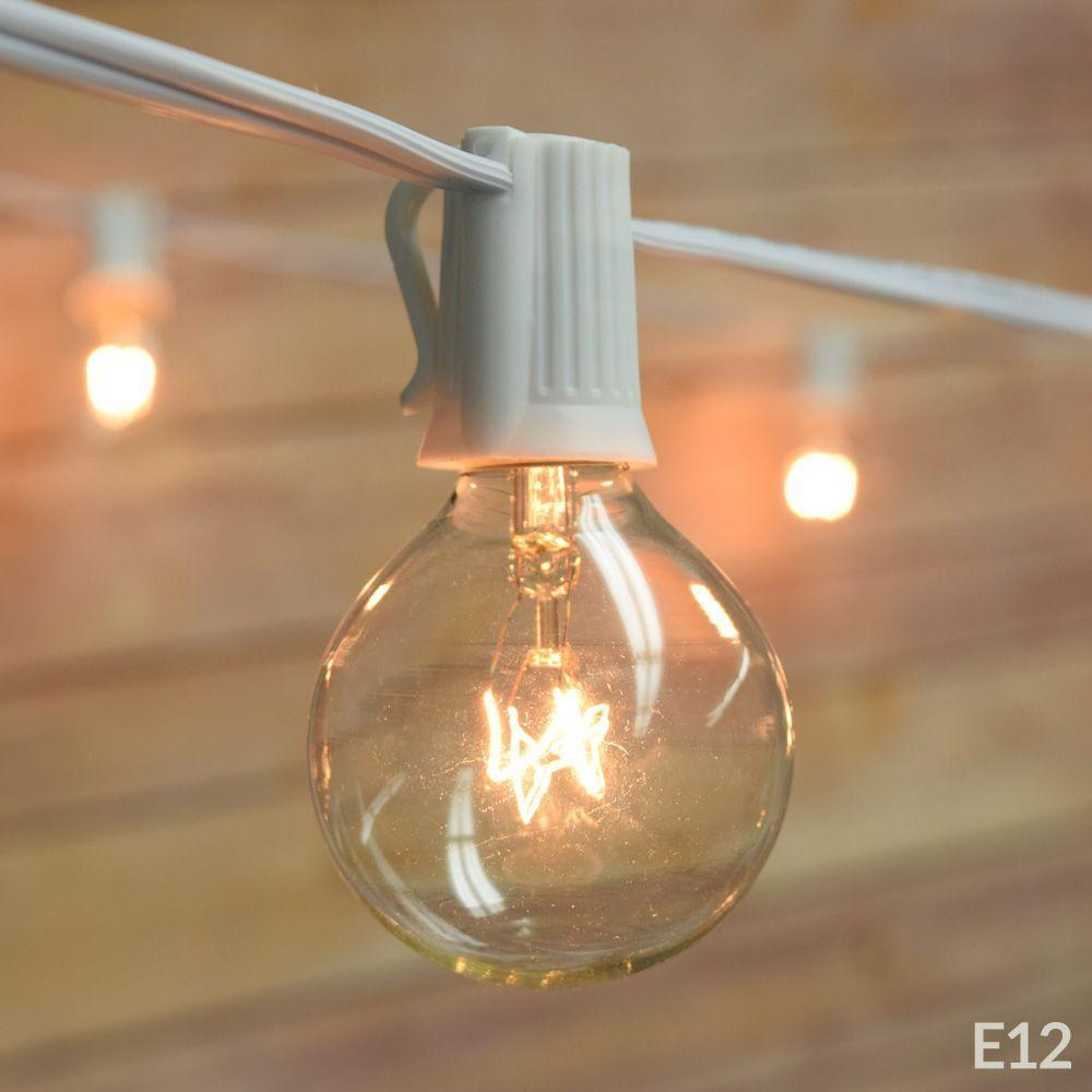 (Cord Only) 50 Socket Outdoor Patio DIY String Light, 51 FT White w/ E12 Base, Expandable End-to-End - Luna Bazaar | Boho & Vintage Style Decor