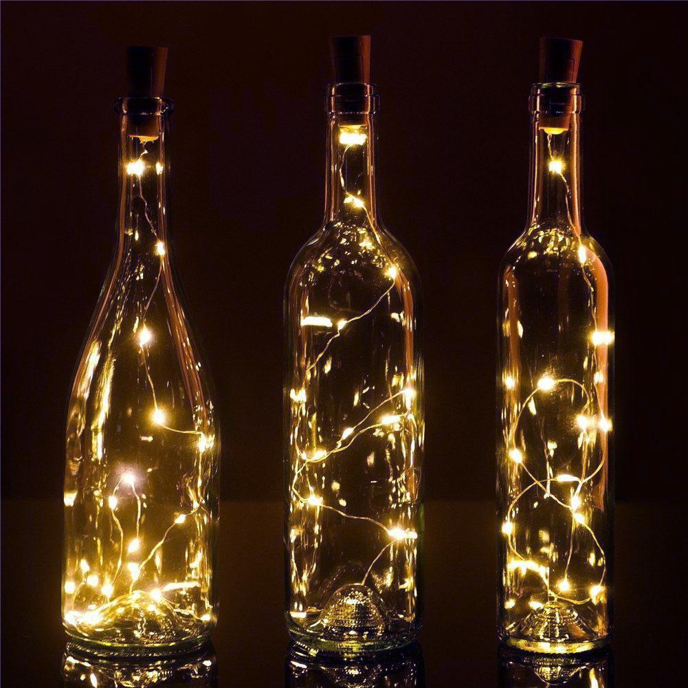 3-Pack 3Ft Battery Powered 20 LED Warm White Cork Wine Bottle Lights DIY Fairy String Lights Table Centerpiece Decoration - Luna Bazaar | Boho & Vintage Style Decor