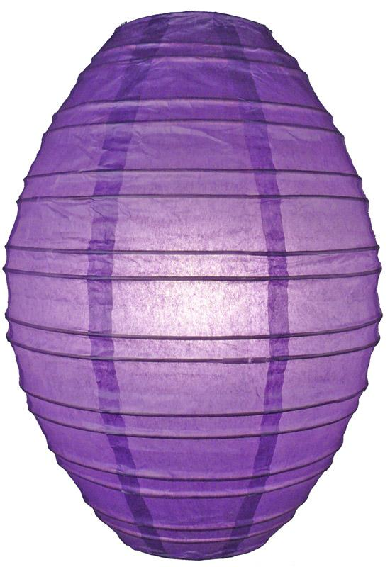 Dark Purple Kawaii Unique Oval Egg Shaped Paper Lantern, 10-inch x 14-inch - Luna Bazaar | Boho & Vintage Style Decor