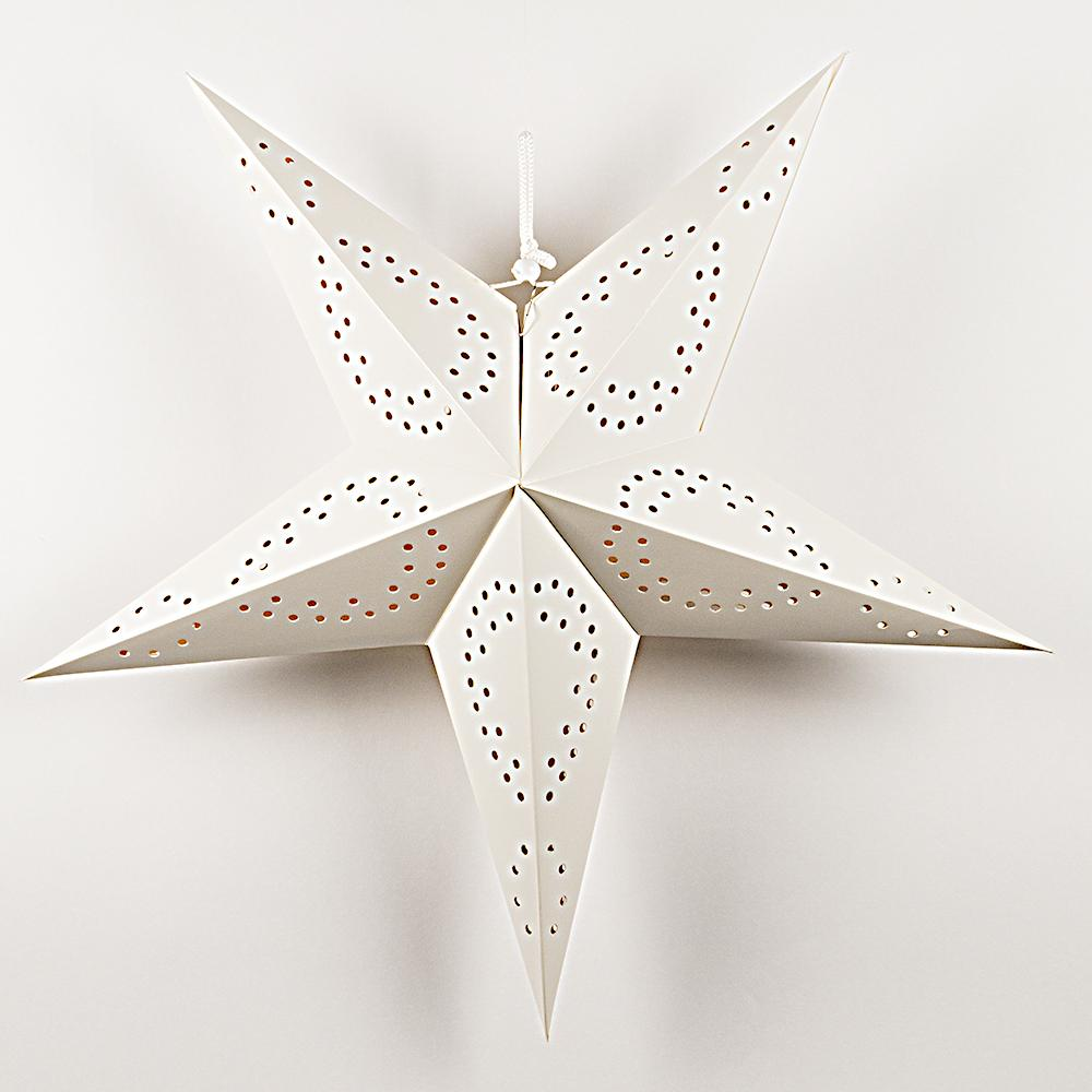 "26"" Solid White Dot Cut-Out Paper Star Lantern Decoration - Luna Bazaar 