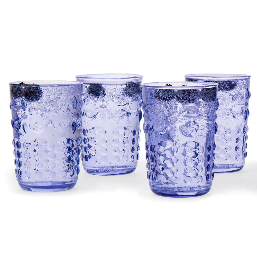 CLOSEOUT 6-Pack Small Fleur de Lys Juice/Wine Drinking Glass (6 Piece Set, Light Blue, Holds Approx 5 oz) - For Home Decor, Parties, and Wedding Decorations - Luna Bazaar | Boho & Vintage Style Decor
