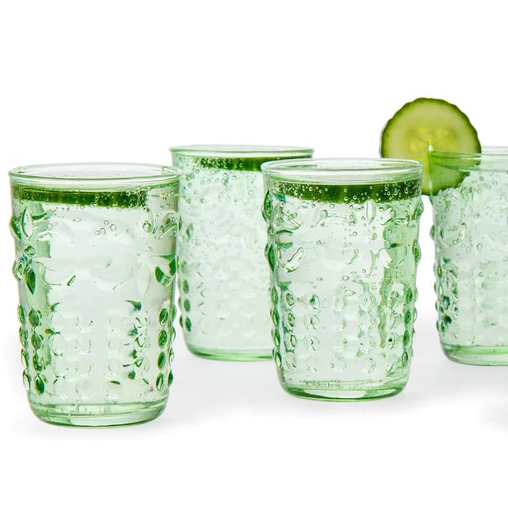 CLOSEOUT 6-Pack Small Fleur de Lys Juice/Wine Drinking Glass (6 Piece Set, Light Green, Holds Approx 5 oz) - For Home Decor, Parties, and Wedding Decorations - Luna Bazaar | Boho & Vintage Style Decor