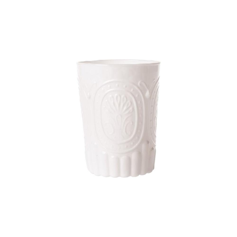 CLOSEOUT 12 Ounce Milk White Medallion Design Glass Tumbler Drinkware - Luna Bazaar | Boho & Vintage Style Decor