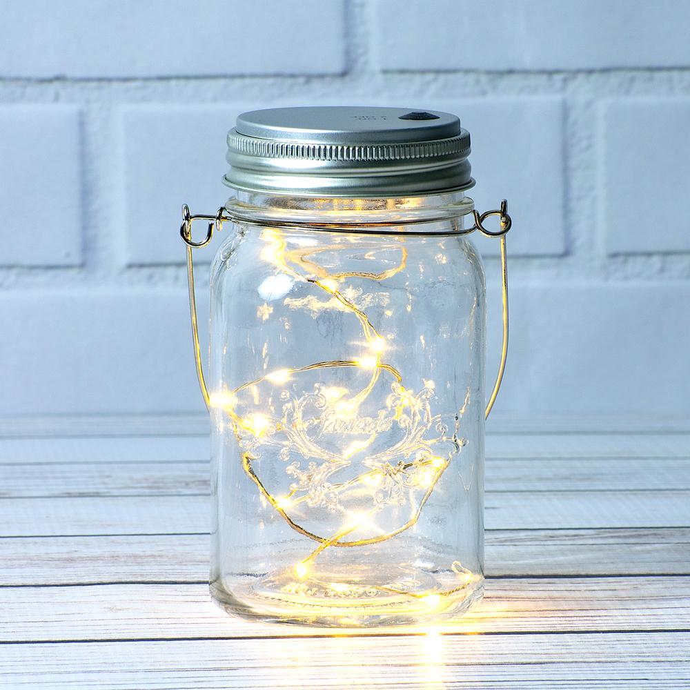 Fantado Regular Mouth Clear Mason Jar w/ Hanging Warm White LED Fairy Light Kit (Battery Powered) - Luna Bazaar - Discover. Decorate. Celebrate