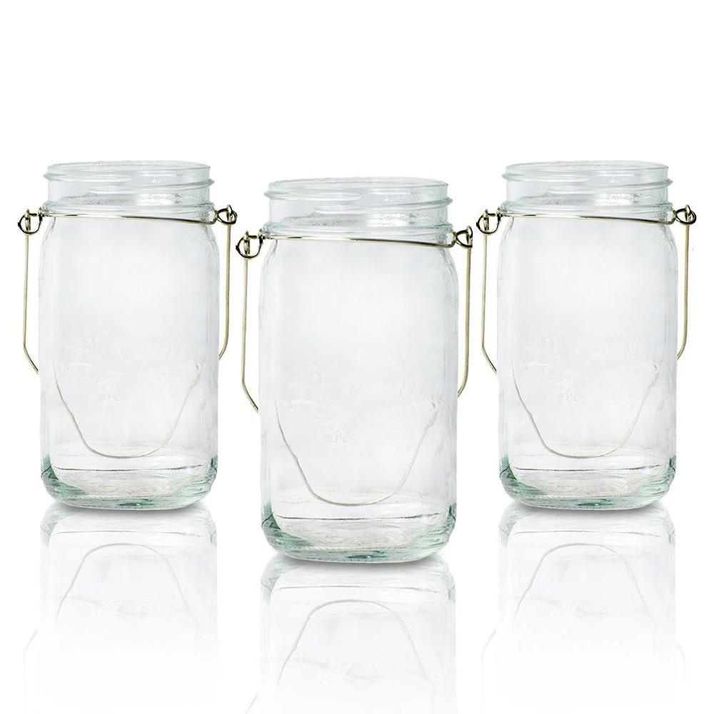 (6-Pack) Fantado Wide Mouth Clear Mason Jar w/ Handle, 32oz - Luna Bazaar | Boho & Vintage Style Decor