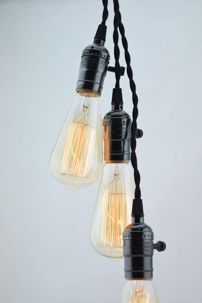 BULK COMBO Triple Pearl Black Socket Pendant Light Lamp Cord Combo Kits w/ ST64 Edison Bulbs, Dimmer (17FT, Black Cloth) - Luna Bazaar | Boho & Vintage Style Decor
