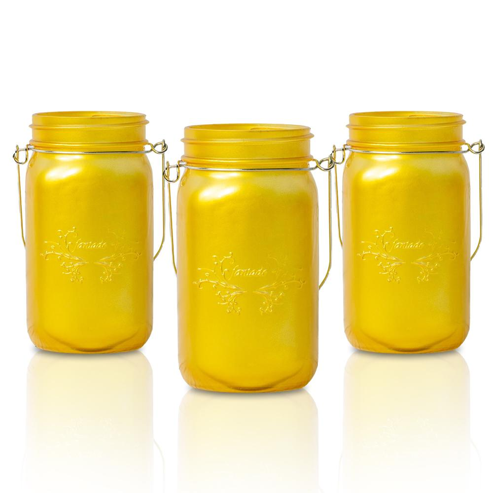 CLOSEOUT 3-Pack Fantado Wide Mouth Frosted Yellow Gold Color Mason Jar w/ Handle, 32oz - Luna Bazaar | Boho & Vintage Style Decor