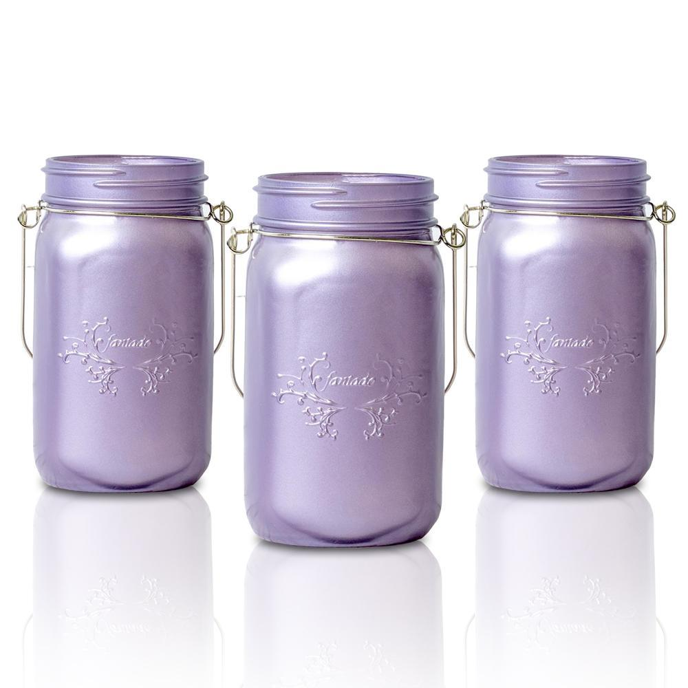 CLOSEOUT (6-Pack) Fantado Wide Mouth Frosted Wisteria Purple Color Mason Jar w/ Handle, 32oz - Luna Bazaar | Boho & Vintage Style Decor
