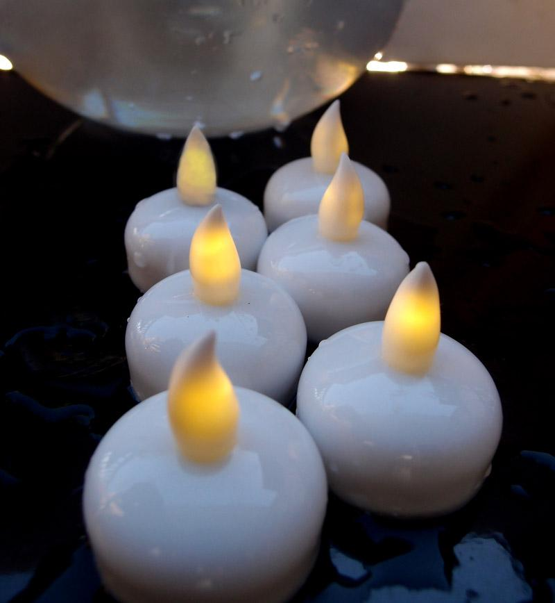 CLOSEOUT Floating Waterproof Flameless LED Tea Light Candle - Warm White (6 PACK) - Luna Bazaar | Boho & Vintage Style Decor